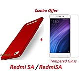 """RidivishN COMBO OFFER Xiaomi Redmi 5A / Redmi5A All Sides Protection """"360 Degree"""" Sleek Rubberised Matte Hard Case Back Cover + 2.5D Curved 3D Tempered Glass Screen Protector (RED)"""