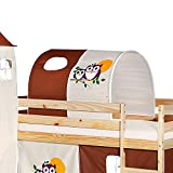 IDIMEX Tunnel für Hochbett Eule Rutschbett Spielbett Kinderbett in Braun/Beige