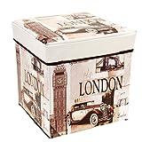 Unbekannt Aufbewahrungsbox Sitztruhe Sitzhocker Hocker Stauraum Sitzbox Truhe Polsterhocker Sitzwürfel Sitzkasten Spielkiste Spielzeugtruhe 30x30x30 cm Gepolsterte Sitzfläche London