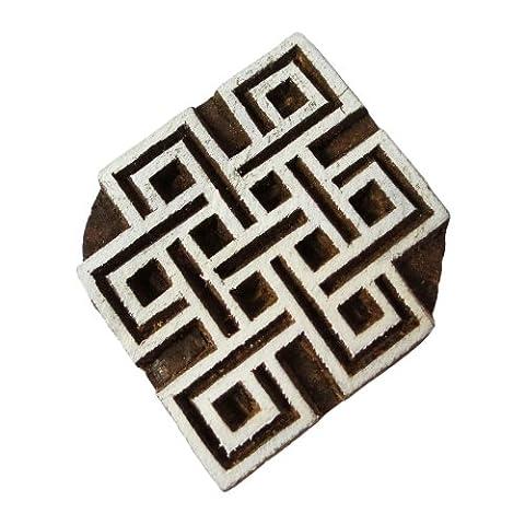 Textilholzblock Geometrischen Druck Auf Stoff Designer Stempel Hand Geschnitzt