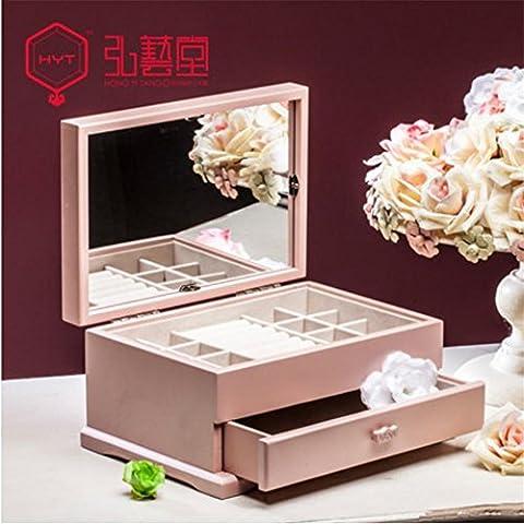 XYXY Gioielli collana luminosa LED Jewelry Box di legno creativa Storage Box . pink
