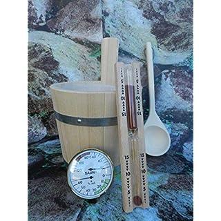 Sauna Badset 4-teilig, Saunakübel aus PEFC zertifizierten Fichtenholz, Kelle, Sanduhr, Thermo-Hygrometer