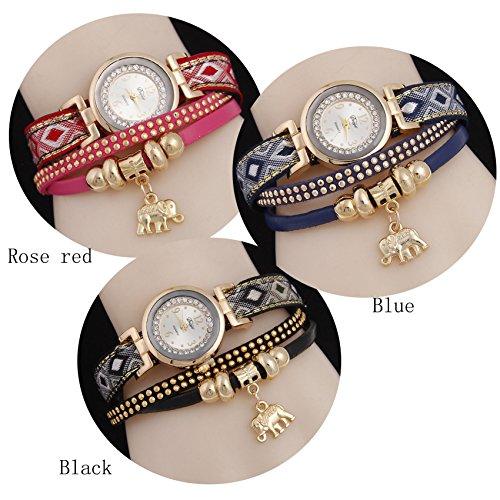SNHWARE Reloj de Pulsera Nuevo Elefante Reloj de Cuarzo Pendiente Vintage Reloj de Diamante Remachado Paquete de 3 Correas