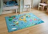 Schadstofffreier Steffensmeier Kinderteppich Weltkarte   Spielteppich für Mädchen und Jungen in blau bunt, Größe: 80x150 cm