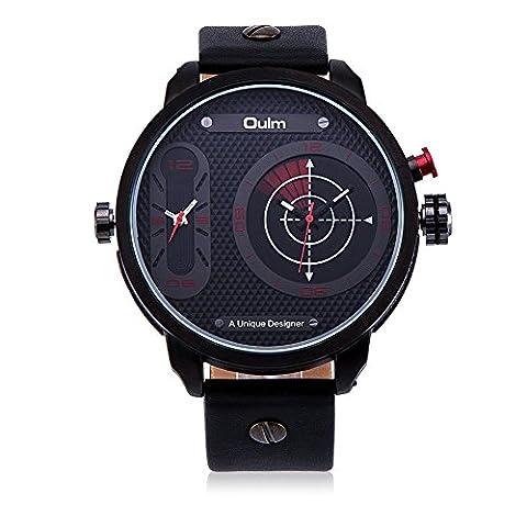 Hongboom Bande de cuir véritable de deux mouvements Rouge montre bracelet Homme décontracté Business Radar de quartz analogique poignet montres Mode Robe