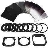 allcaca 20en 1juego de filtros de fotografía Kit de filtro ND ND Filtros De Lente De Cámara Con 9anillos adaptadores de filtro, 2soportes y 1campana, incluyendo Full ND2ND4ND8ND 16y graduado ND2, ND4y N8N16, color negro