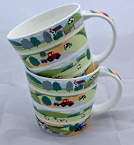 Pair of Delightful Fine Bone China Mugs in the Countryside Design