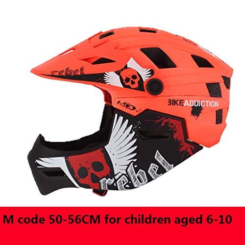 Kinderfahrradhelm Motorrad Full Face Helm Kinderschutz Ausrüstung Sport Schutzgeräte Fahren Skating,Orange,M
