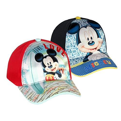 Takestop® Capuchon Mickey Mouse Mickey Mouse Mouse Mouse rouge bleu avec visière enfant fille coton carton animé fermeture velcro réglable mer plage excursions voyages couleur aléatoire