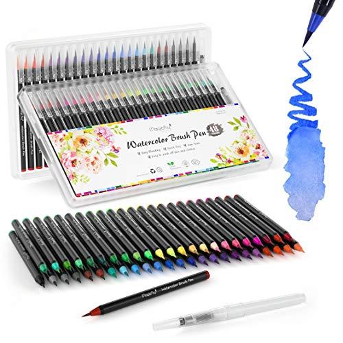 e 49 Farben Set, Kalligraphie Set 48 1 Leerer Wassertankpinsel mit Nylonspitze für Kalligraphie, Bullet Journal, Malen, Aquarellmalerei ()