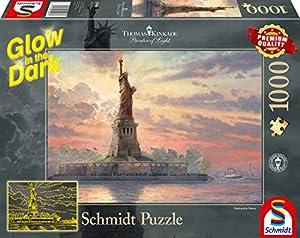 Schmidt Spiele Puzzle 59498Thomas Kinkade, Estatua de la Libertad en la al anochecer, Glow in The Dark, Puzzle de 1000Piezas