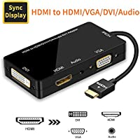 Adaptador HDMI, Visualización Sincronizada 1080P HDMI a VGA DVI HDMI Audio Convertidor de Video 4 en 1 con Cable Micro USB Adaptador Multipuerto