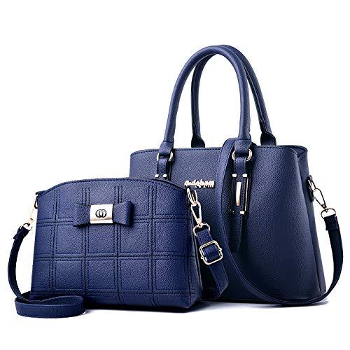 Europäische und amerikanische Mode Damen Big Bag Schulter Umhängetasche Handtasche blau (gestickte Linie Version des Mutter-Pakets)
