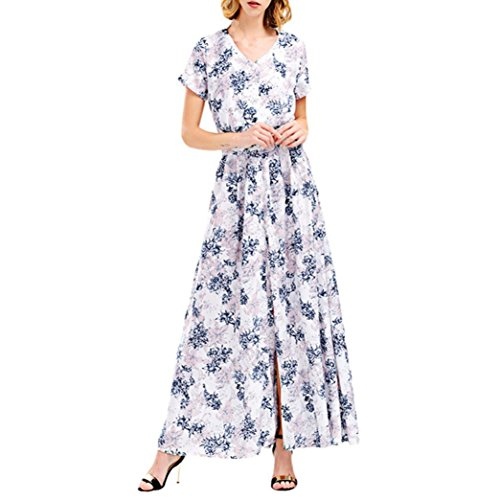 Hmeng Kleid, Frauen V Ansatz langes Böhmen Kurzschluss Hülsen Blumendruck Strand Partei Beiläufiges Kleid Weiß