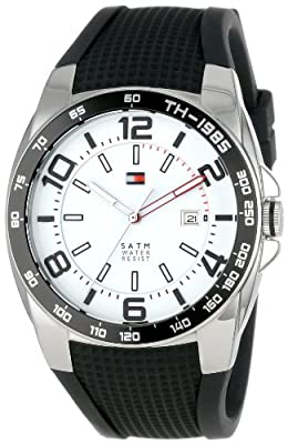 Tommy Hilfiger Caballero 1790884 Sport Stainless Steel Bezel Black Silicon Strap Reloj