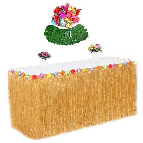 (Fortuning's JDS Tropischer Blatt-Hibiscus-Blumen-Gras-Tabellen-Rock für Hawaiische Party-Dekorationen(55Pcs))