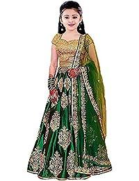 Shreenathji Fashion Girl's Silk Semi-Stitched Lehenga Choli (Green, Free Size)