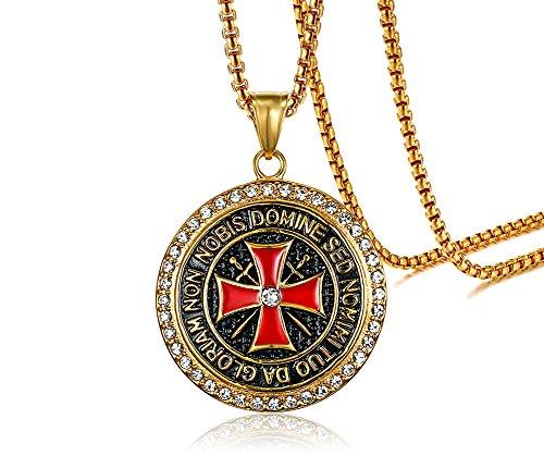 Vnox Männer Edelstahl Vergoldet Kristall Tempel Ritter Kreuz Anhänger Halskette Katholizismus Schmuck,freie Kette