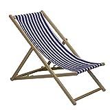 Liegestuhl für den Garten/Strand - traditionelles Design - verstellbar - Blau und Weiß gestreift-