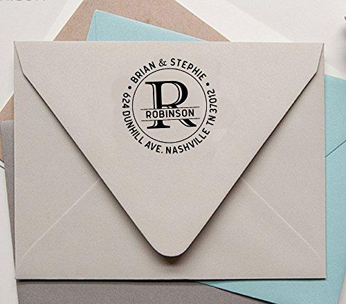 Return Address timbro personalizzato Monogram auto inchiostrazione personalizzata rotonda Stamp