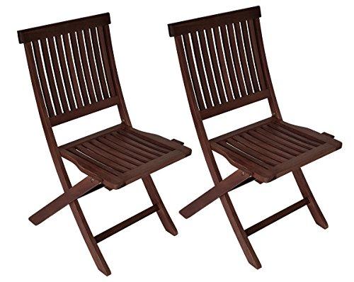 DEGAMO 2x Klappstuhl ARUBA Kolonialstil aus Eukalyptusholz, geölt, FSC-zertifiziert