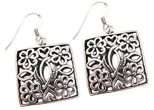 orecchini modo per le donne orecchino in argento sterling ciondoli in filigrana 925 - Black Pearl Ciondola Gli Orecchini