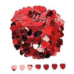 Idea Regalo - Confetti Cuore Metallica Lamina Coriandoli Cuori Glitter Lustrino Paillettes per San Valentino Nozze Festa Decorazione di Tavola, Rosso, 10 mm, 1 Oncia
