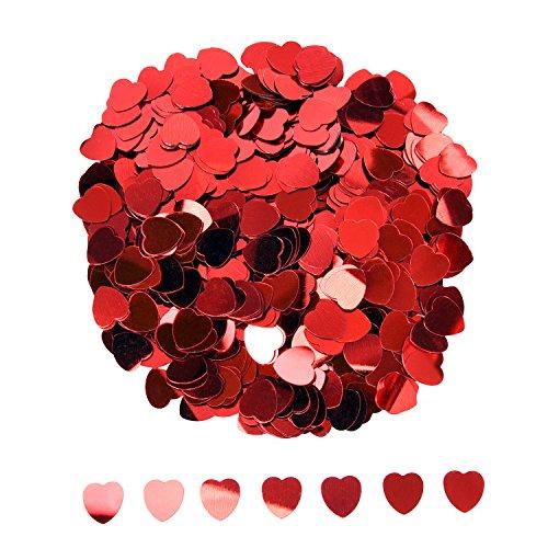 Herz Konfetti Metallisch Folie Herzen Konfetti Glitzer Herzen Pailletten für Valentinstag Hochzeit Party Tisch Dekorationen, Rot, 10 mm, 1 Unzen