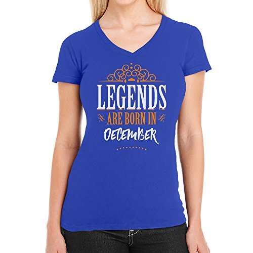 Legends are born in December - Geschenke Damen T-Shirt V-Ausschnitt Blau
