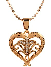 Ananth Jewels Heart Shaped Rose Gold Plated Pendant Necklace For Women - B073T48VHJ