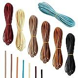 SANTOO 7 Piezas 6m x 3mm Cordón de Cuero, Cuerda Cuero para Hacer Collar de La Pulsera Joyería Rebordear DIY Artesanía Hecha a Mano, 7 Colores