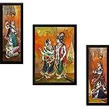 SAF Synthetic Radha Krishna UV Textured Print Framed Painting (35x2x50cm, Multicolour) - Set Of 3