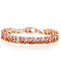 Peora Multicolor 18K Rose Gold Plated AAA Swiss Cubic Zirconia Dazzling Bracelet Jewellery for Women and Girls Engagement (PFCB2025)