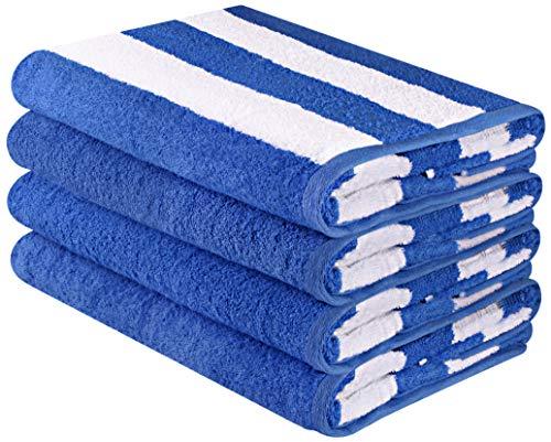 Utopia Towels - Grande Serviette de Plage en Cabana Stripe, Paquet de 4, 100% Coton, Entretien Facile, Douceur maximale et absorbance (76 x 152 cm)
