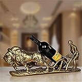 XIAPENGContinental Kreative Harz Speicher Bronze Farbe Land Wine Rack 55 * 12 * 22cm Wohnzimmer Tabelle 1 Flaschen 750ML Wein