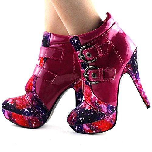 Show Story LF30301 Boots à talon aiguille haut et plateforme avec boucles Hot Pink