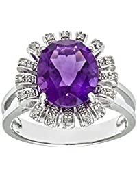 Naava Women's 9 ct White Gold Amethyst and Diamond Flower Cluster Ring