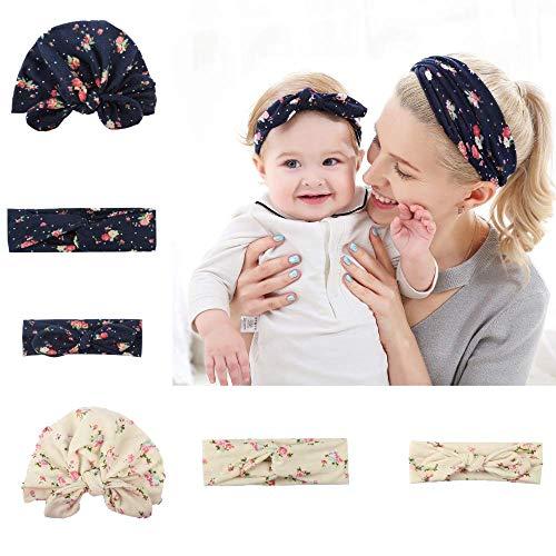 Stirnbänder für Baby und Mutter, Mama und Tochter Haarbänder& Hut-Set, Hüte und Haarwickel für Neugeborene, Säuglinge und Kleinkinder, Stirnband baby mädchen, Neugeborenen geschenk, Baby foto requisit (Mutter Und Tochter-geschenk-sets)