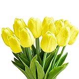 StillCool Blumen Tulpen Künstliche mit Blättern für Hochzeits-Blumenstrauß Deko Blumen Tischdeko Blumendeko Kunstblumen in 7 Farben Blumendekoration (gelb, 6)