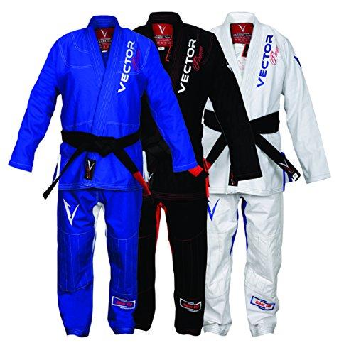 Kimono brasileño Jiu Jitsu BJJJGi con cinturón blanco para hombres y mujeres tejido de perlas preencogidas 100 % algodón – Ultra fuerte Flamma Series nivel de competencia, color negro azul blanco