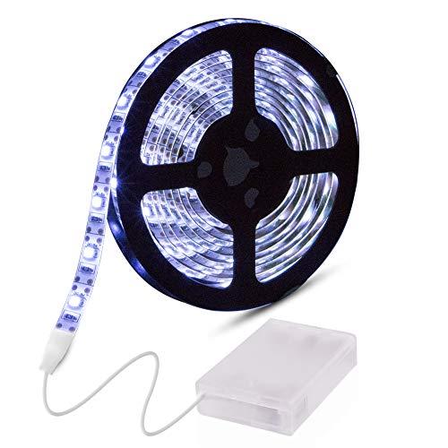 Abtong batteriebetrieben LED-Lichtern, RGB 5050LED Strip mit Fernbedienung, flexibel, wasserdicht, mit Band, mit Beleuchtung, 20-Farben, weiß, 2M/6.56ft