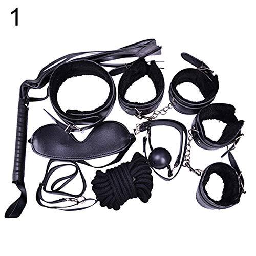 7 Stück Fesseln Bondage Plüsch Manschetten Gurt Peitsche Seil Hals Erwachsene Spielspielzeug Set Einheitsgröße Schwarz