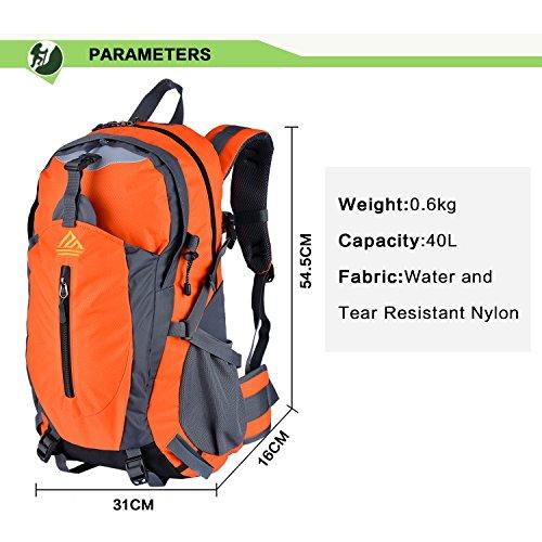 Imagen de naturefun 40l  ligera daypack resistente al agua bolsa de trekking para camping, senderismo, escalada naranja  alternativa