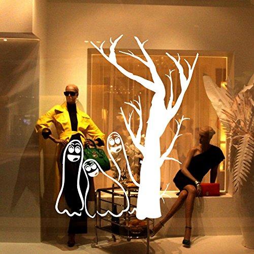 GYHTXHJPET Kreative Wand Aufkleber Mode Wandtattoos Umweltschutz Wandbild Dekoration Flugzeug Dekoratives Material Wallpaper Halloween Hintergrund Schmückt Fine Carving Schwarz 42 * 48 cm, Weiss