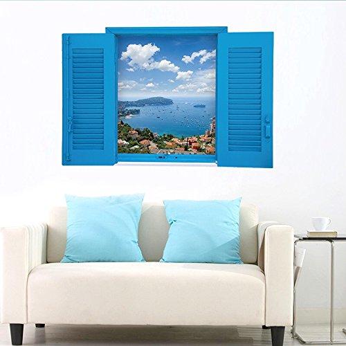 Wandsticker Wandtattoo Wandbilder Aufkleber in Meer Urlaub im Blauen Fenster Zimmerdeko