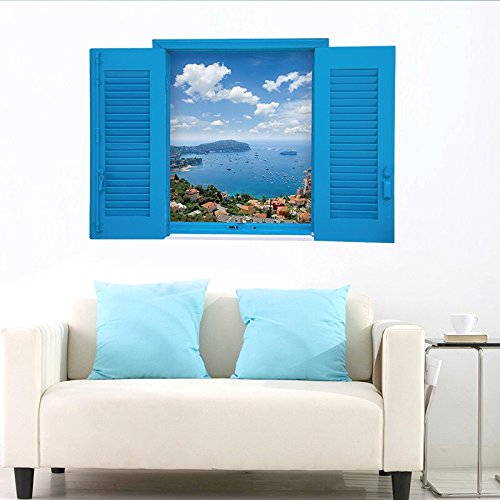 Meer Fenster (Wandsticker Wandtattoo Wandbilder Aufkleber in Meer Urlaub im Blauen Fenster Zimmerdeko)