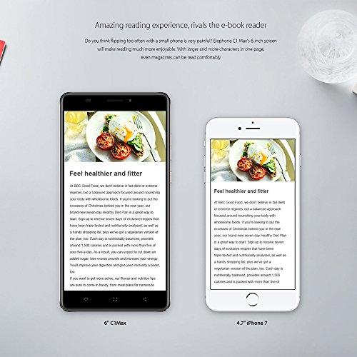 Elephone C1 MAX 4G Smartphone Android 7.0 Pantalla HD 6.0 pulgadas 1280*720pixel Quad-core 2GB RAM 32GB ROM 5.0MP + 13.0MP Cámaras Traseras Duales 2800mAh Huella dactilar