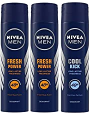 Nivea Men Power Charge Deodorant, 150ml (Pack of 3) and Men Cool Kick Deodorant, 150ml