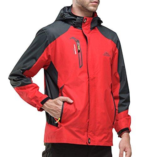Herren/Damen Softshell Jacke Outdoor Funktionsjacke Kapuzenjacke Klettern Freizeitjacke Sportjacke Arbeitsjacke Rot 3XL