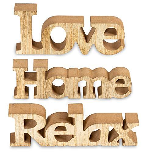 3er Set Schriftzug aus Holz Love Home Relax - Natur braun gewischt - Aufsteller Buchstaben Bild Dekoration Deko (Set Kommode Schlafzimmer Billig Für)